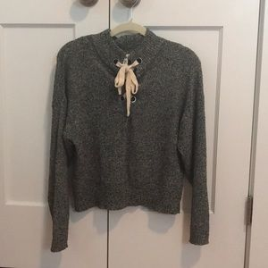 Lace-Up Grey Heather Sweater